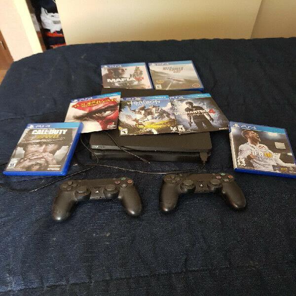 Playstation 4 slim 500 gb 2 controles 7 juegos