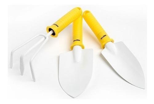 Set 3 herramientas jardinería pala rastrillo