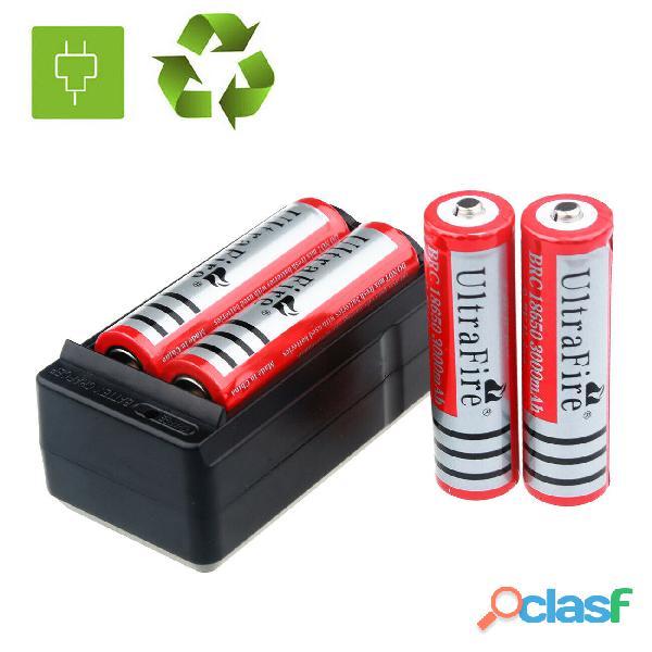 4x ultrafire 3000mah 18650 bateria 3.7v li ion recargable