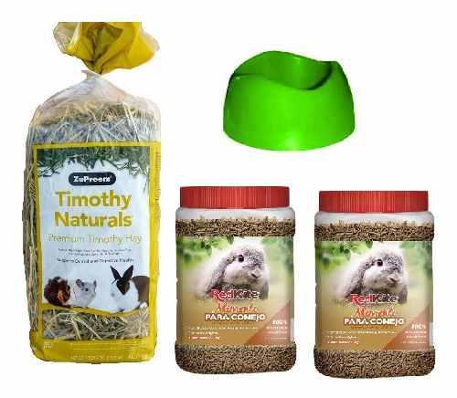 Heno naturals 14oz + 2kg alimento conejo + tazón