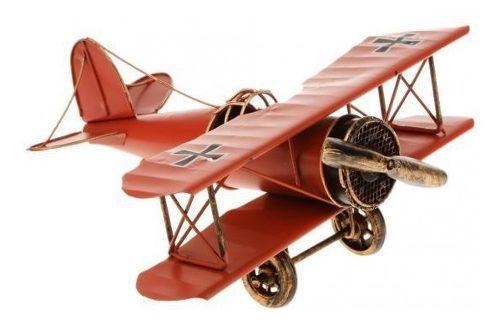 Vendimia metal avión modelo biplano aeronave militar decora