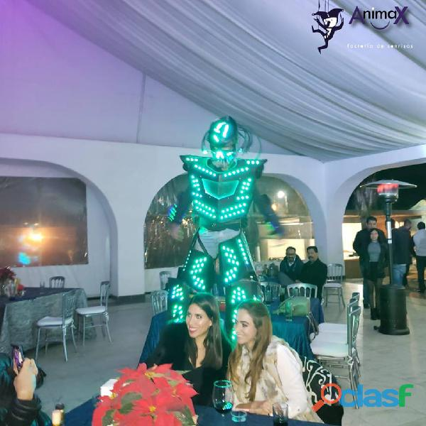 Robot, arlequines y zanqueros para fiestas