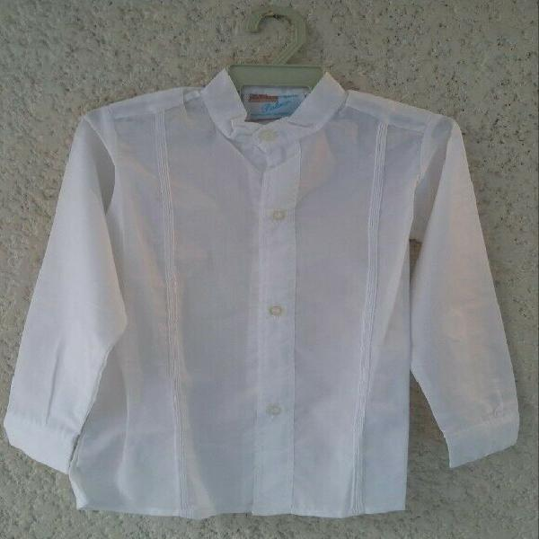 Filipina yucateca para niños cuello mao camisa formal con