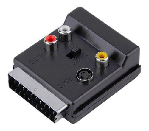 Scart macho a hembra s-video 3 rca adaptador de audio conmut