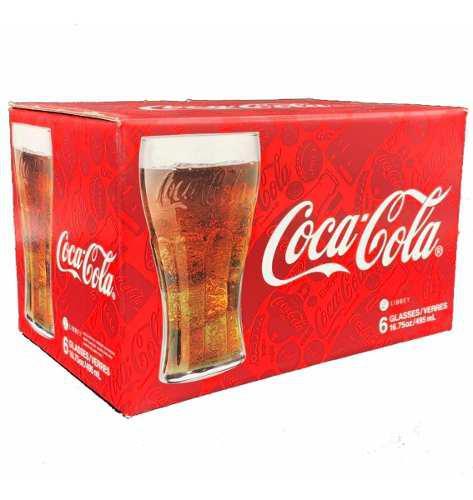 Coca cola 6 vasos clásicos 100% originales de vidrio libbey