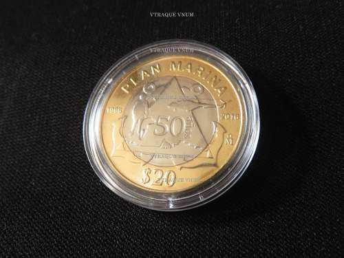Nueva moneda 20 pesos plan marina con capsula sin circular