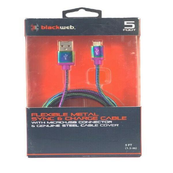 Cable cargador datos reforzado blackweb tornasol micro usb 1