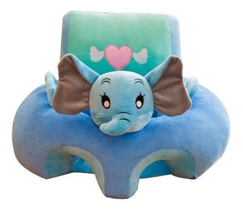 Soporte aprender a sentarse bebé elefante azul con verde