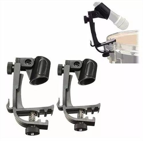 2 bases de microfono para bateria tambor clip stand