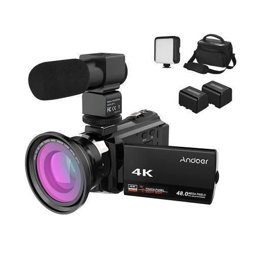 Andoer 4k videocámara 1080p 48mp wifi digital vídeo