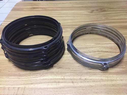 Aro 7 pulgadas tom 4 lugs hoyos tambor batería negro