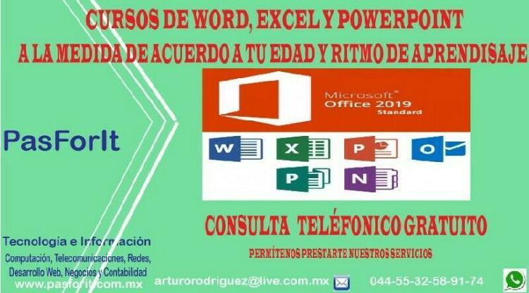 Curso de word, excel y/o powerpoin