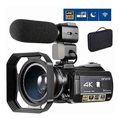 Videocámara ordro ac3 4k mp4 hdmi usb hot shoe + mic -negro