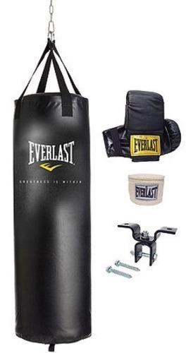 Costal de boxeo everlast con guantes soporte montaje envoltu