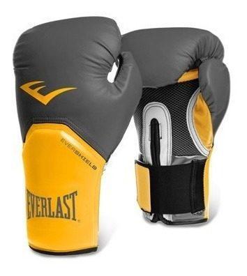 Guantes de box everlast pro style gris amarillo 12 14 16 oz