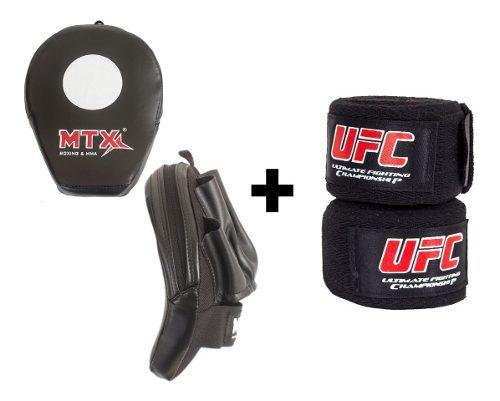 Manoplas box + venda boxeo mma kick boxing (pack 2pares)