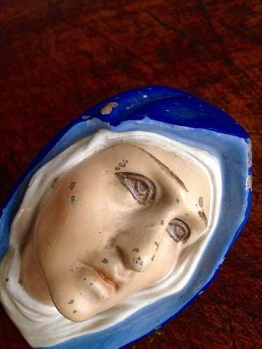 Antigua virgen dolorosa de barro años 50's