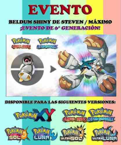 Beldum shiny - evento + mega - pokémon xy oras sol ultra