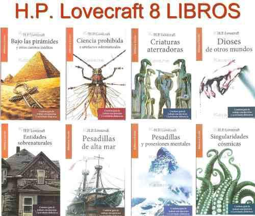 Colección 8 libros h.p. lovecraft relatos cuentos de terror