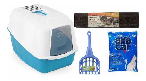 Kit para gatitos arenero,pala,arena aglutinante y rascador.
