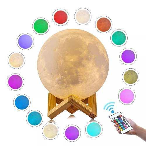 15 cm 16 colores lámpara luna 3d recargable comtrol remoto