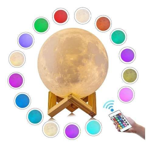 17 cm 16 colores lámpara luna 3d recargable comtrol remoto