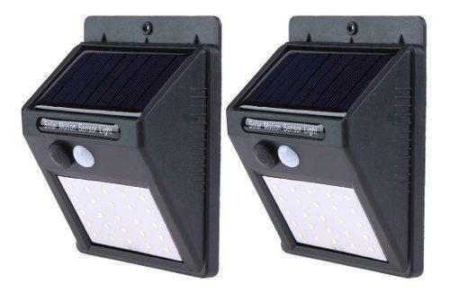 2 piezas lamparas solares 25 led exterior sensor movimiento