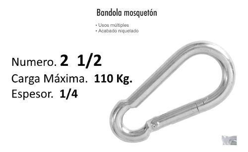 Bandola mosqueton 2 1/2 acero 1/4 carga 101 kg $ mayoreo