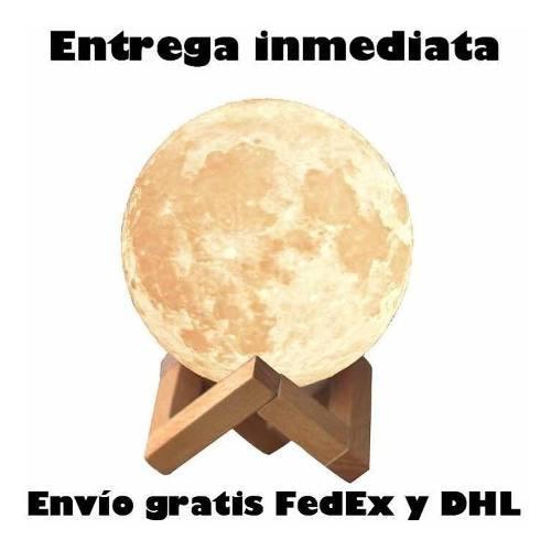Hermosa lámpara luna 3d replica lunar recargable base