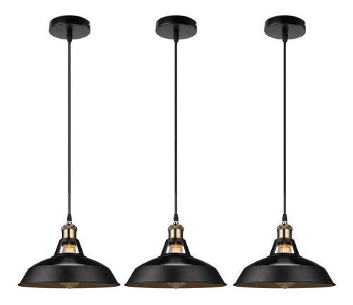 Lámpara candil colgante metal industrial vintage 3 pzs