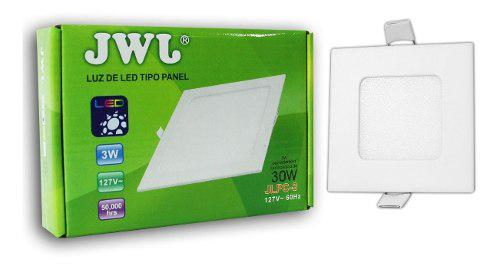 Plafon led 3w empotrable slim luz blanca cuadrado 10 pz jwj