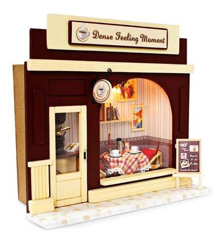 Cafetería madera kit casa de muñecas con luz regalo