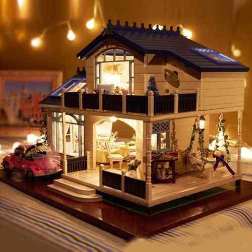 Diy de madera muñeca casa muebles artesanía miniatura equi