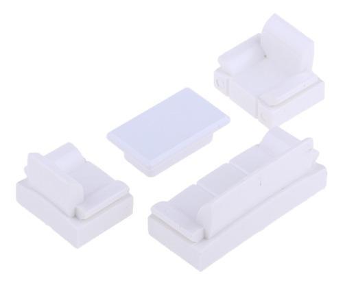 Miniatura modelo sofá blanco muebles para casas de muñecas