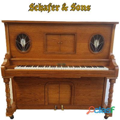 Piano marca schafer & sons, va., origen ca. madera de encino,