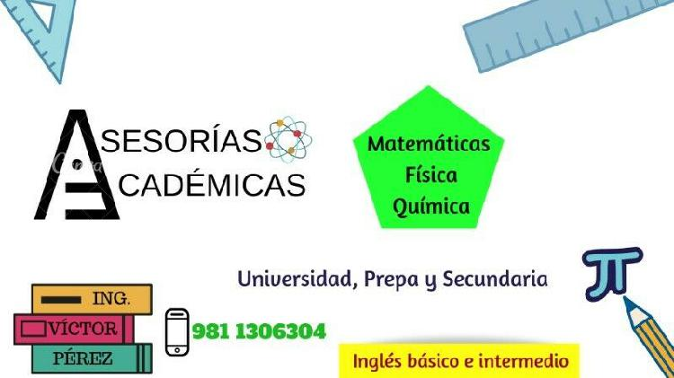 Asesorias de matematicas,fisica,quimica,ingles