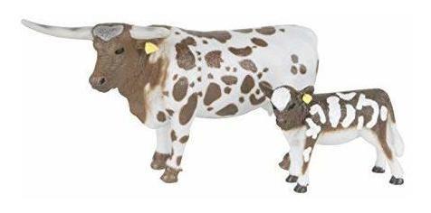 País grande granja juguetes longhorn vaca y ternero