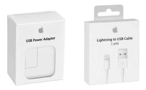 Cargador adaptador 12w ipad + cable lightning 1m original.
