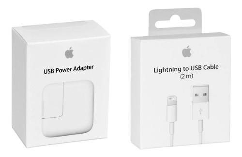 Cargador adaptador 12w ipad + cable lightning 2 m original.