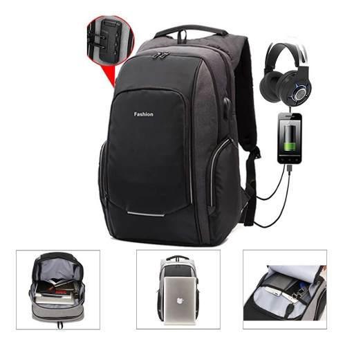 Mochila backpack premium anti robo puerto usb y audífonos