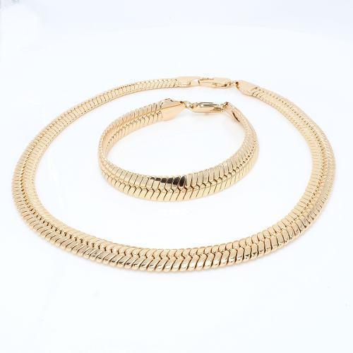 Elegante cadena gruesa + esclava de mujer hombre de oro