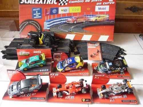 Scalextric, 6 Carros, 10 Tramos, Curva Cambio De Carril, Ect