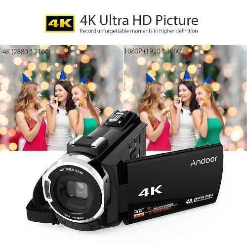 Andoer 4k 1080p 48mp wifi cmara de video digital