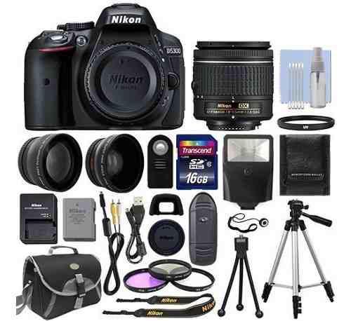 Cámara nikon d5300 18-55mm kit, flash telefotos +