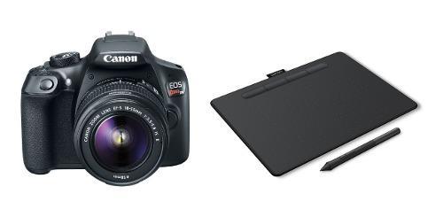 Cámara reflex canon rebel t6 18 55 combo tableta wacom