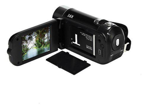 Videocamara video con zoom digital hd 1080p enchufe negro la