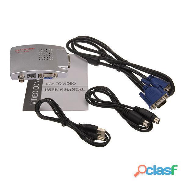 Adaptador convertidor vga a señal tv bnc s video
