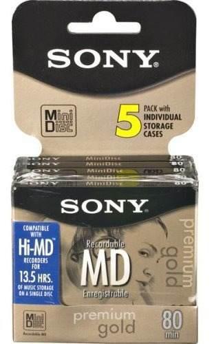 Sony 5 Mdw80pl 80 Minutos Minidisc Md Premium Gold 5 Pack De
