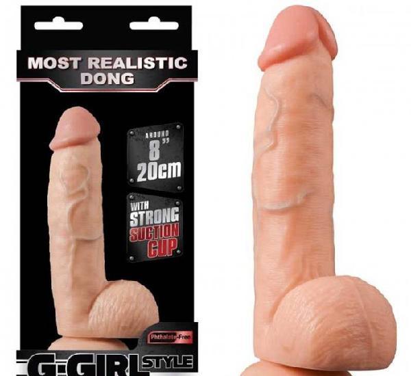 Super Dildo de 20cm realista en forma de pene con testiculos