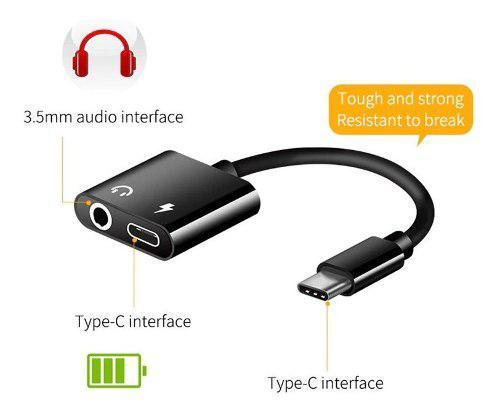 Cable adaptador usb tipo c 2 en 1 audio 3.5 mm y carga